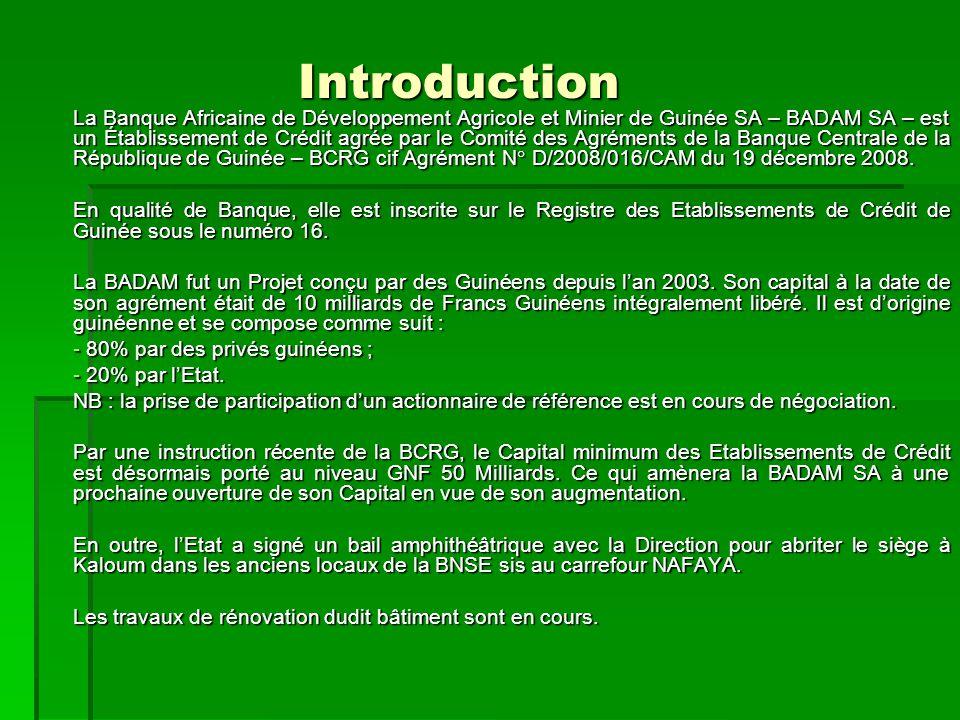 Objectifs de la BADAM SA. La Banque Africaine de Développement Agricole et Minier de Guinée SA.