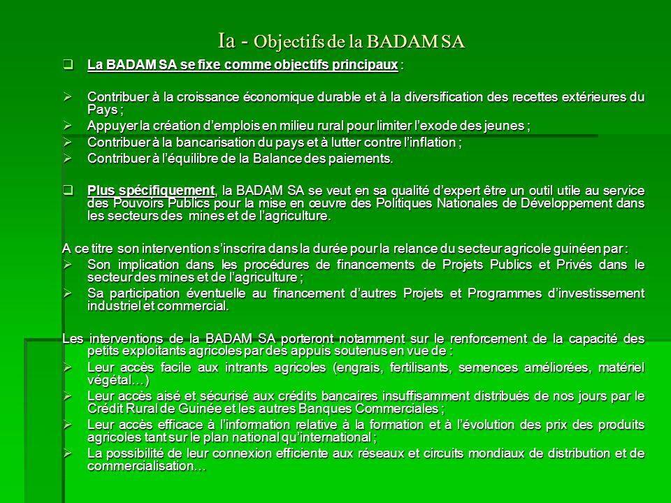 Démarches  La BADAM SA dans sa démarche focalisera ses efforts dans une première étape à l'appropriation des stratégies nationales de développement à travers l'analyse :  du DSRP (Document de stratégie pour la Réduction de la Pauvreté),  des LPDA 1 & 2 (Lettre de Politique de Développement Agricole) et,  de la PNDA (Politique Nationale de Développement Agricole dernière version de la LPDA) du Ministère de l'agriculture.