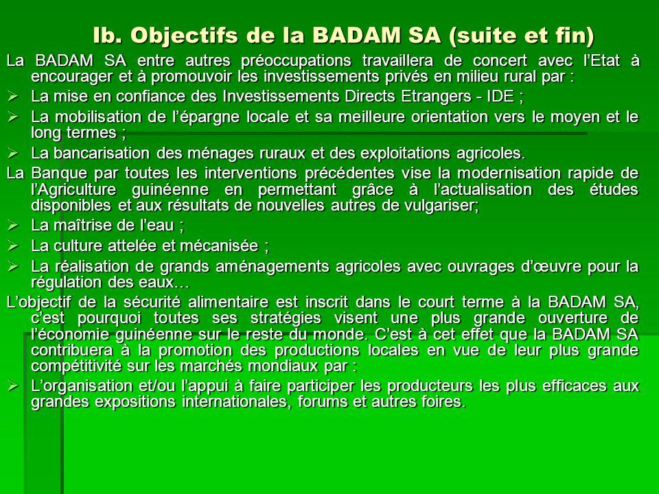 Ib. Objectifs de la BADAM SA (suite et fin) La BADAM SA entre autres préoccupations travaillera de concert avec l'Etat à encourager et à promouvoir le