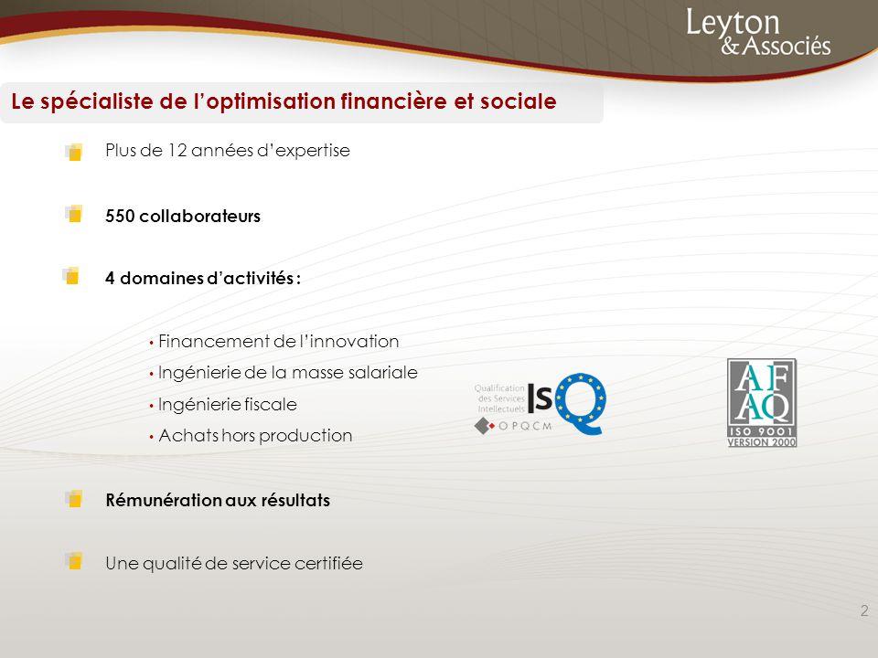2 Plus de 12 années d'expertise 550 collaborateurs 4 domaines d'activités : Financement de l'innovation Ingénierie de la masse salariale Ingénierie fi