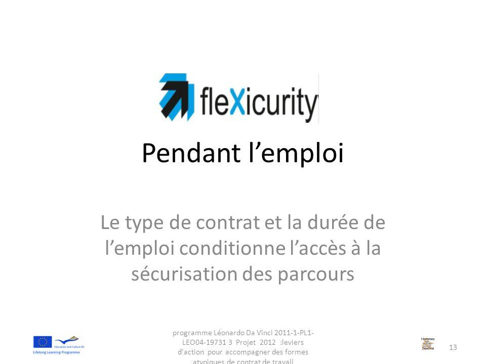 Pendant l'emploi Le type de contrat et la durée de l'emploi conditionne l'accès à la sécurisation des parcours programme Léonardo Da Vinci 2011-1-PL1-