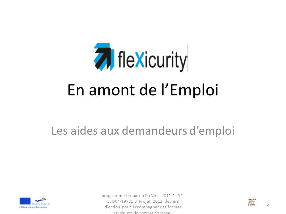 En amont de l'Emploi Les aides aux demandeurs d'emploi programme Léonardo Da Vinci 2011-1-PL1- LEO04-19731 3 Projet 2012 :leviers d'action pour accomp