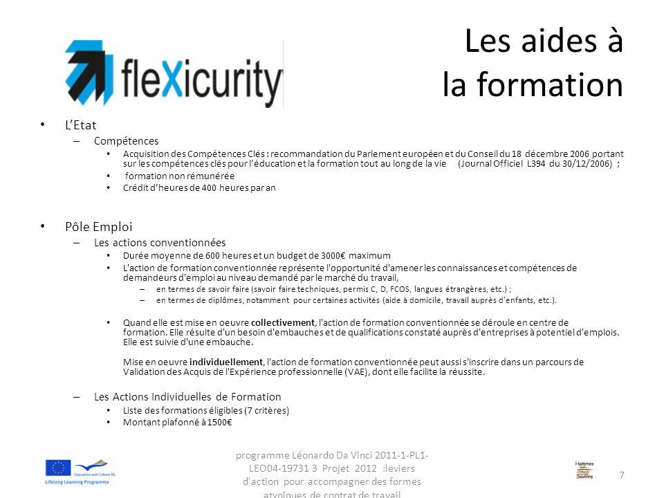 Les aides à la formation L'Etat – Compétences Acquisition des Compétences Clés : recommandation du Parlement européen et du Conseil du 18 décembre 200