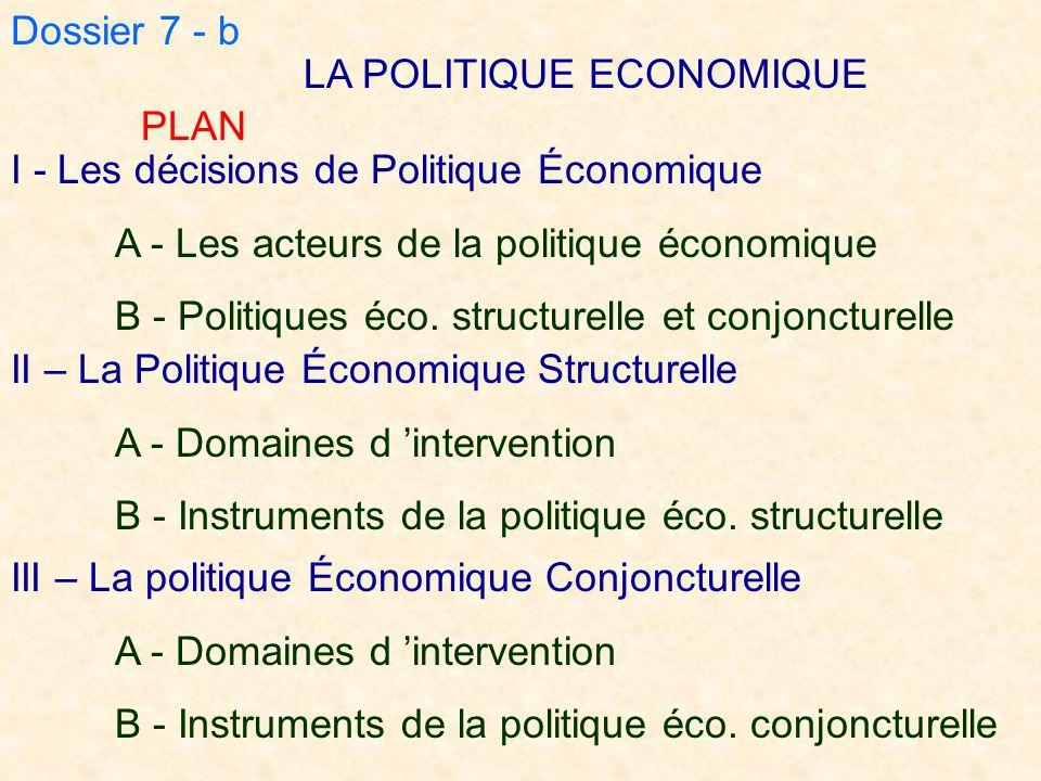 Dossier 7 - b LA POLITIQUE ECONOMIQUE II – La Politique Économique Structurelle A - Domaines d 'intervention B - Instruments de la politique éco. stru