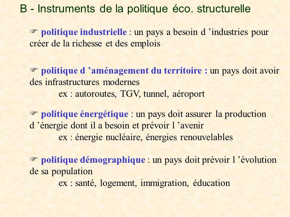 B - Instruments de la politique éco. structurelle  politique industrielle : un pays a besoin d 'industries pour créer de la richesse et des emplois 