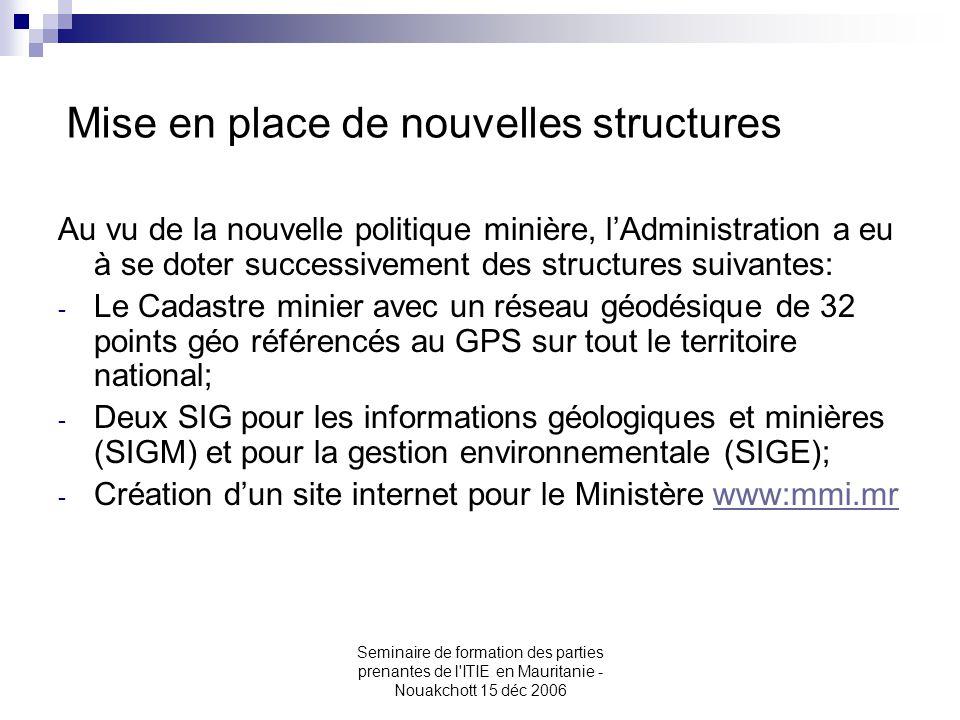 Seminaire de formation des parties prenantes de l'ITIE en Mauritanie - Nouakchott 15 déc 2006 Mise en place de nouvelles structures Au vu de la nouvel