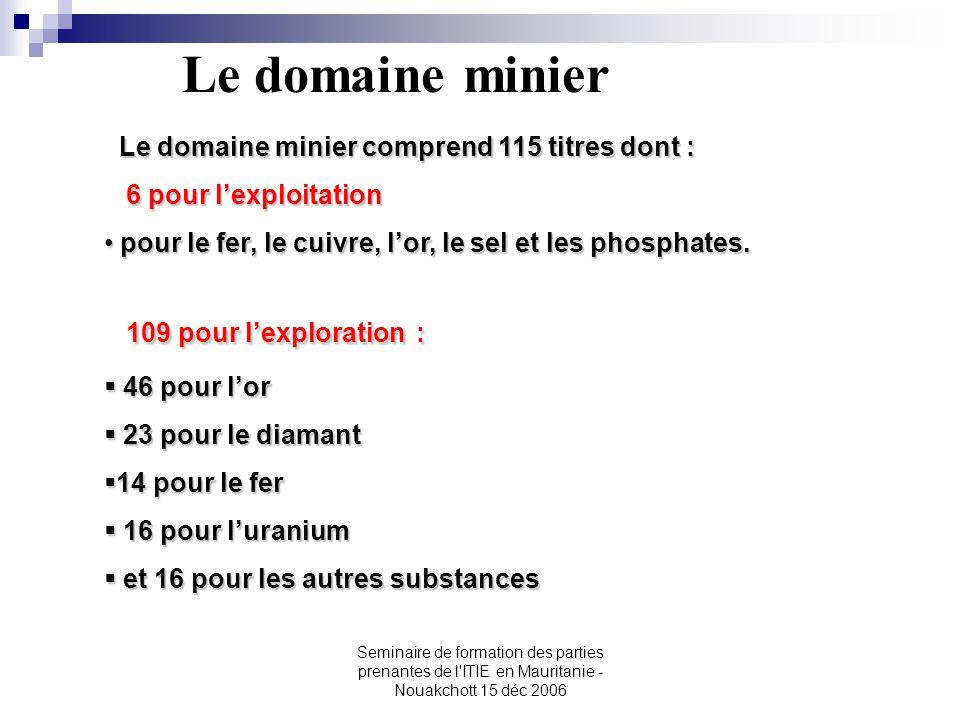 Seminaire de formation des parties prenantes de l'ITIE en Mauritanie - Nouakchott 15 déc 2006 Le domaine minier Le domaine minier comprend 115 titres