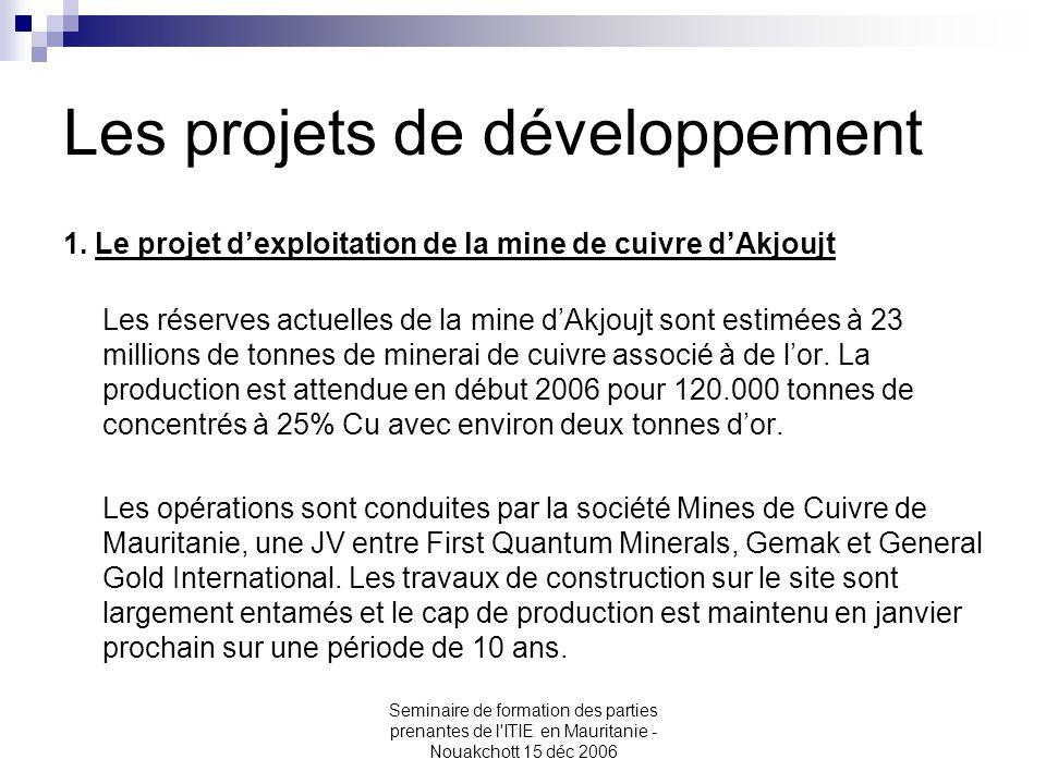 Les projets de développement 1. Le projet d'exploitation de la mine de cuivre d'Akjoujt Les réserves actuelles de la mine d'Akjoujt sont estimées à 23