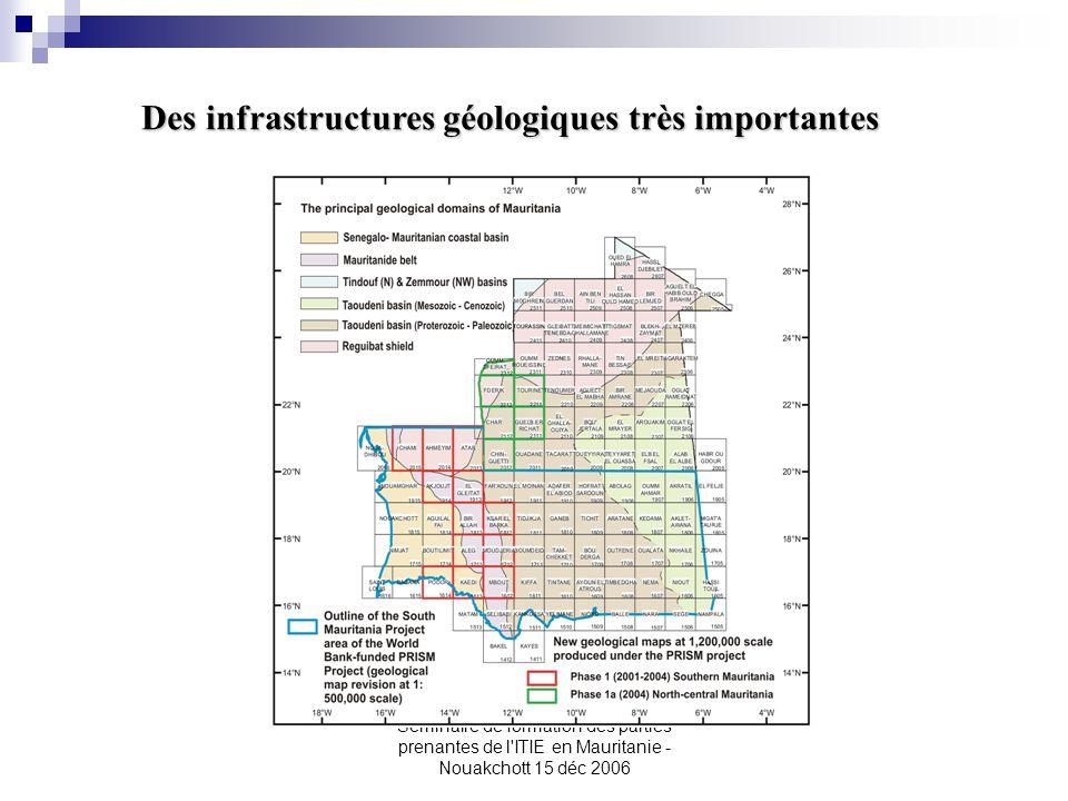 Seminaire de formation des parties prenantes de l'ITIE en Mauritanie - Nouakchott 15 déc 2006 Des infrastructures géologiques très importantes