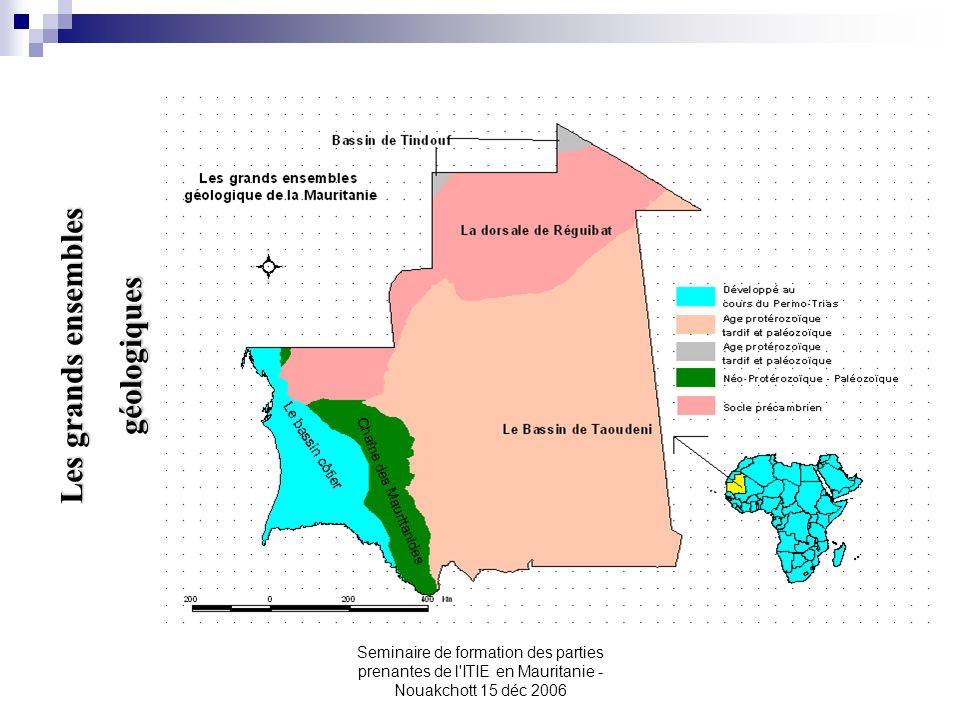 Seminaire de formation des parties prenantes de l'ITIE en Mauritanie - Nouakchott 15 déc 2006 Les grands ensembles géologiques