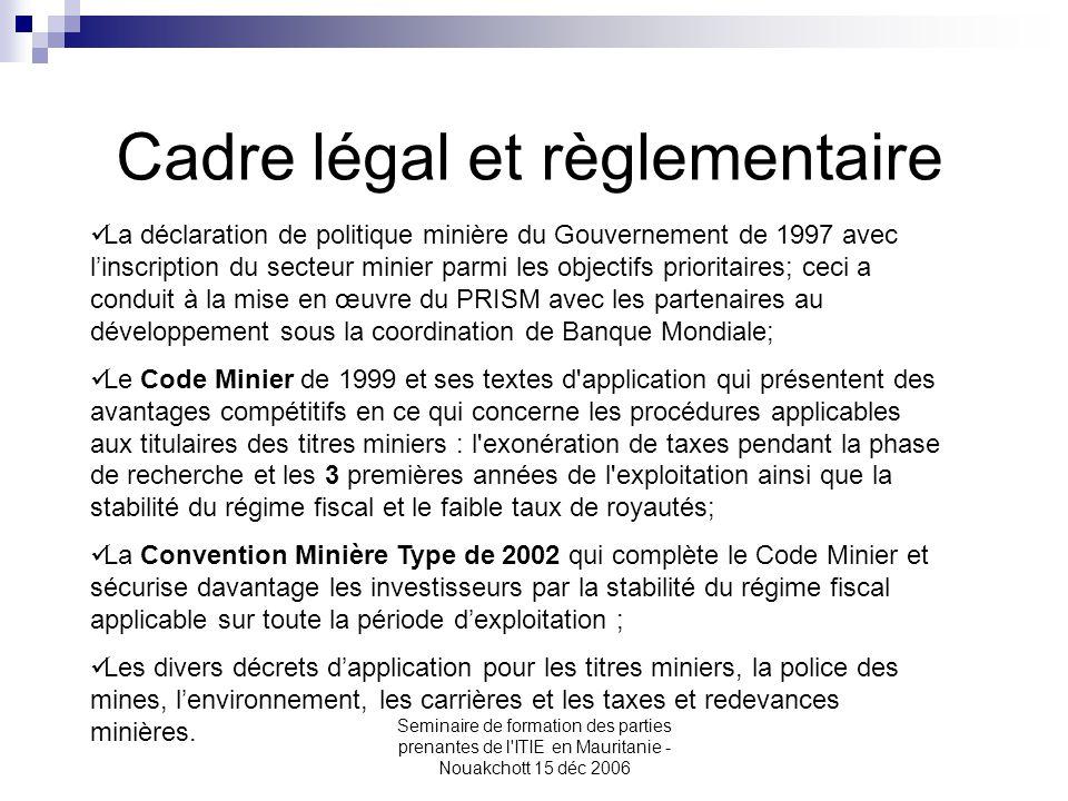 Seminaire de formation des parties prenantes de l'ITIE en Mauritanie - Nouakchott 15 déc 2006 La déclaration de politique minière du Gouvernement de 1