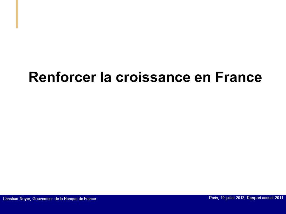 Renforcer la croissance en France Christian Noyer, Gouverneur de la Banque de France Paris, 10 juillet 2012, Rapport annuel 2011