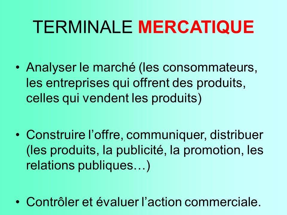 TERMINALE MERCATIQUE Analyser le marché (les consommateurs, les entreprises qui offrent des produits, celles qui vendent les produits) Construire l'of