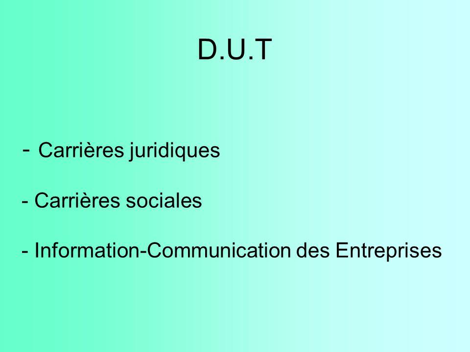 D.U.T - Carrières juridiques - Carrières sociales - Information-Communication des Entreprises