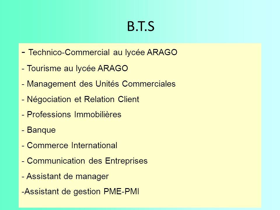 B.T.S - Technico-Commercial au lycée ARAGO - Tourisme au lycée ARAGO - Management des Unités Commerciales - Négociation et Relation Client - Professio