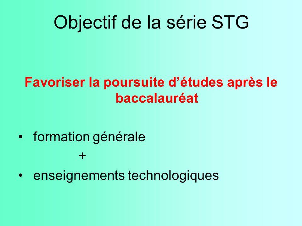 Objectif de la série STG Favoriser la poursuite d'études après le baccalauréat formation générale + enseignements technologiques