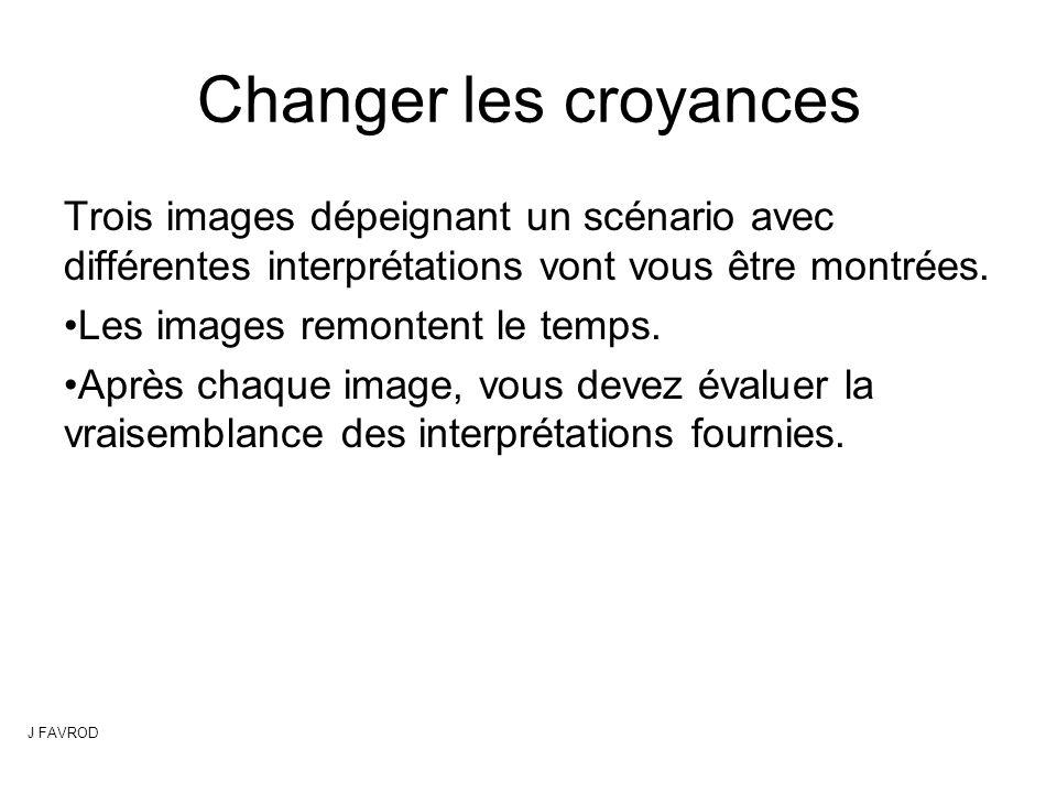 Changer les croyances Trois images dépeignant un scénario avec différentes interprétations vont vous être montrées. Les images remontent le temps. Apr