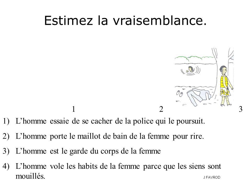 1)L'homme essaie de se cacher de la police qui le poursuit. 2)L'homme porte le maillot de bain de la femme pour rire. 3)L'homme est le garde du corps