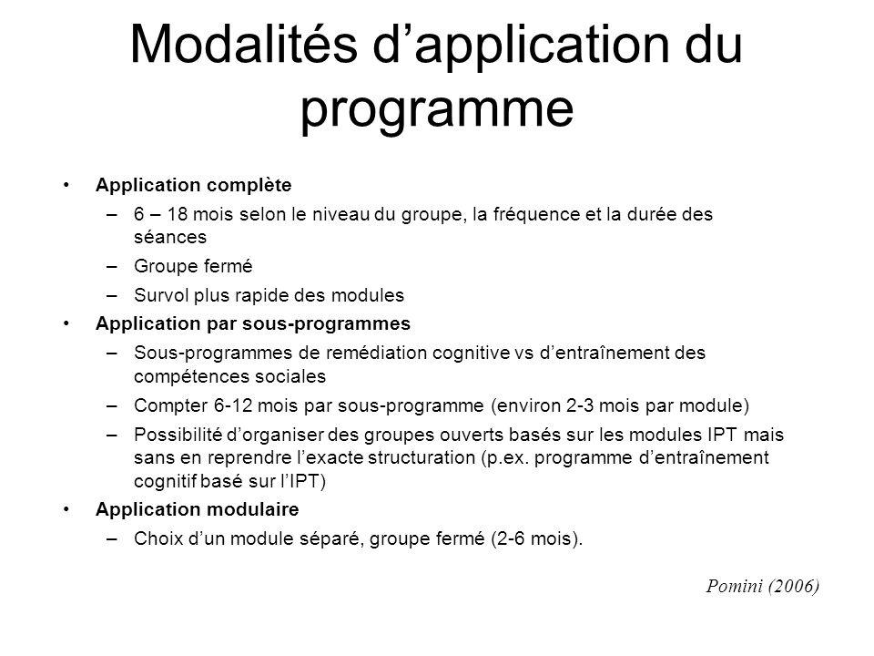 Modalités d'application du programme Application complète –6 – 18 mois selon le niveau du groupe, la fréquence et la durée des séances –Groupe fermé –
