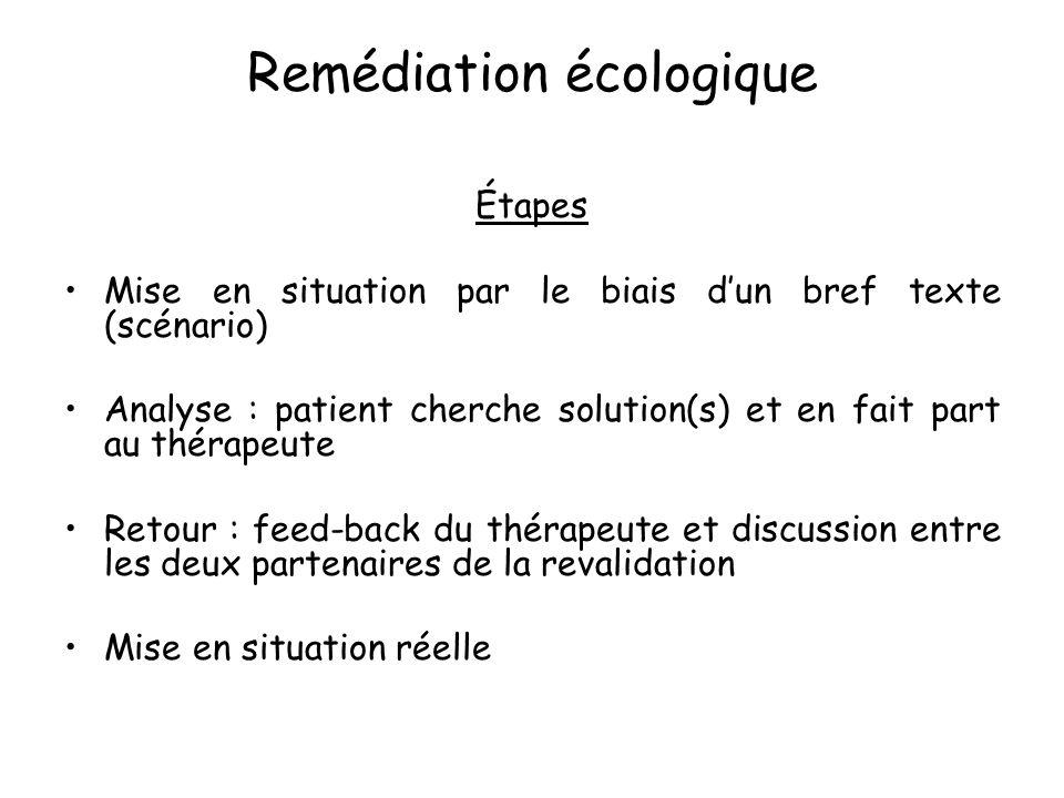 Remédiation écologique Étapes Mise en situation par le biais d'un bref texte (scénario) Analyse : patient cherche solution(s) et en fait part au théra