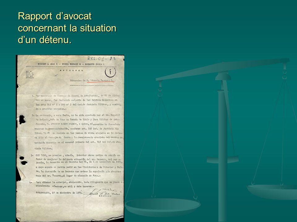 Rapport d'avocat concernant la situation d'un détenu.