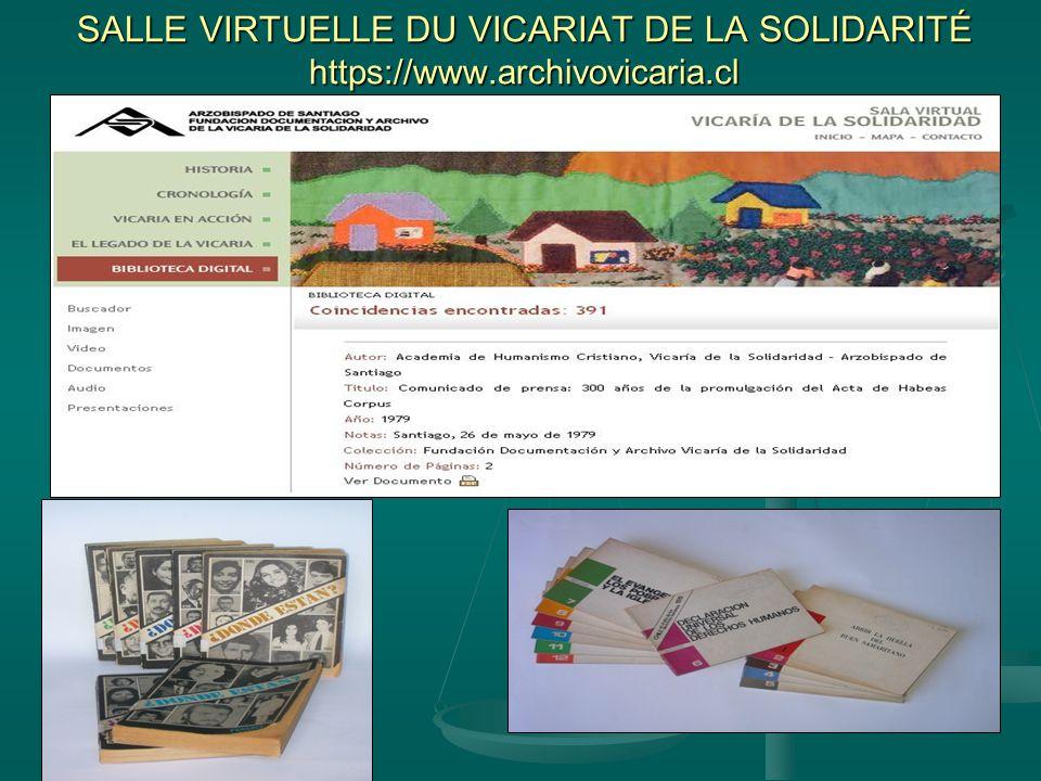 SALLE VIRTUELLE DU VICARIAT DE LA SOLIDARITÉ https://www.archivovicaria.cl