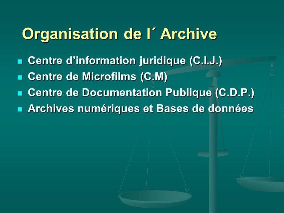 Organisation de l´ Archive Organisation de l´ Archive Centre d'information juridique (C.I.J.) Centre d'information juridique (C.I.J.) Centre de Microfilms (C.M) Centre de Microfilms (C.M) Centre de Documentation Publique (C.D.P.) Centre de Documentation Publique (C.D.P.) Archives numériques et Bases de données Archives numériques et Bases de données