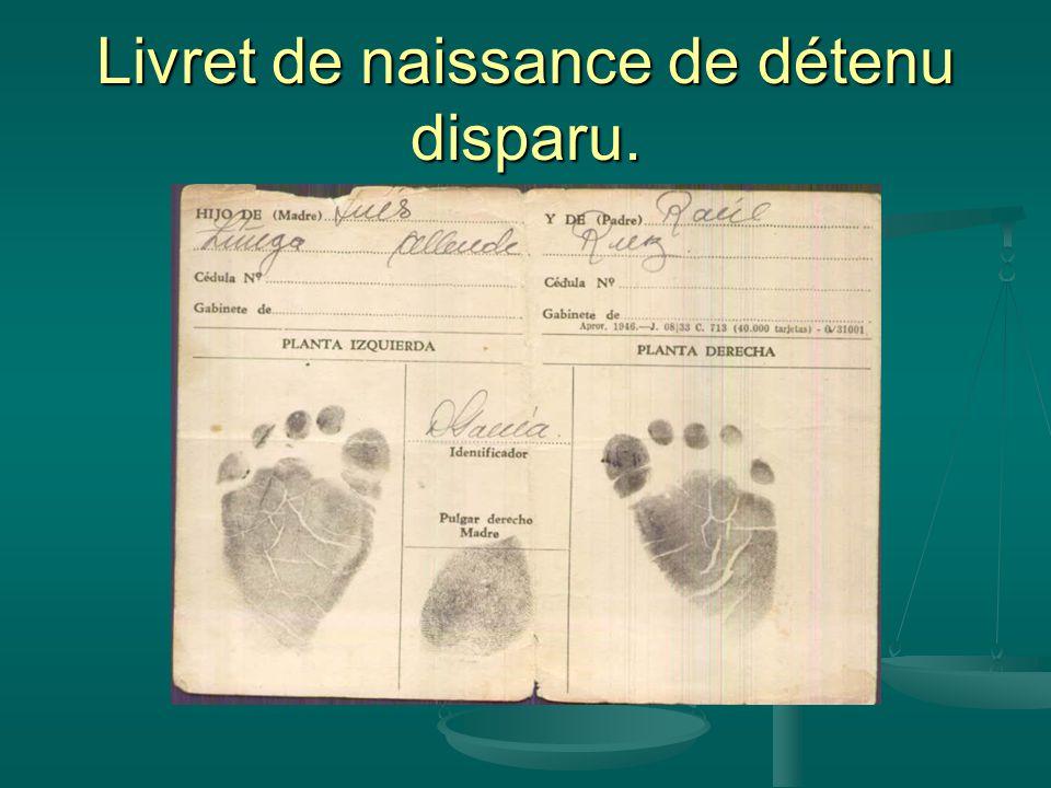 Livret de naissance de détenu disparu.