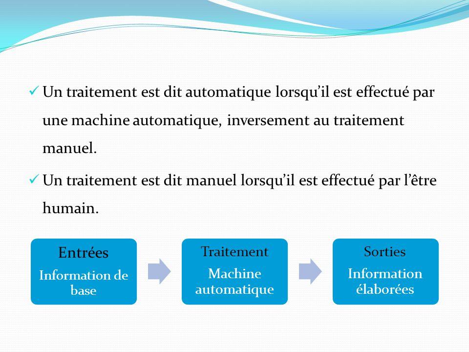 Un traitement est dit automatique lorsqu'il est effectué par une machine automatique, inversement au traitement manuel. Un traitement est dit manuel l