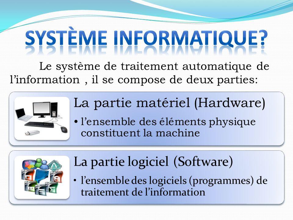 Le système de traitement automatique de l'information, il se compose de deux parties: La partie matériel (Hardware) l'ensemble des éléments physique c