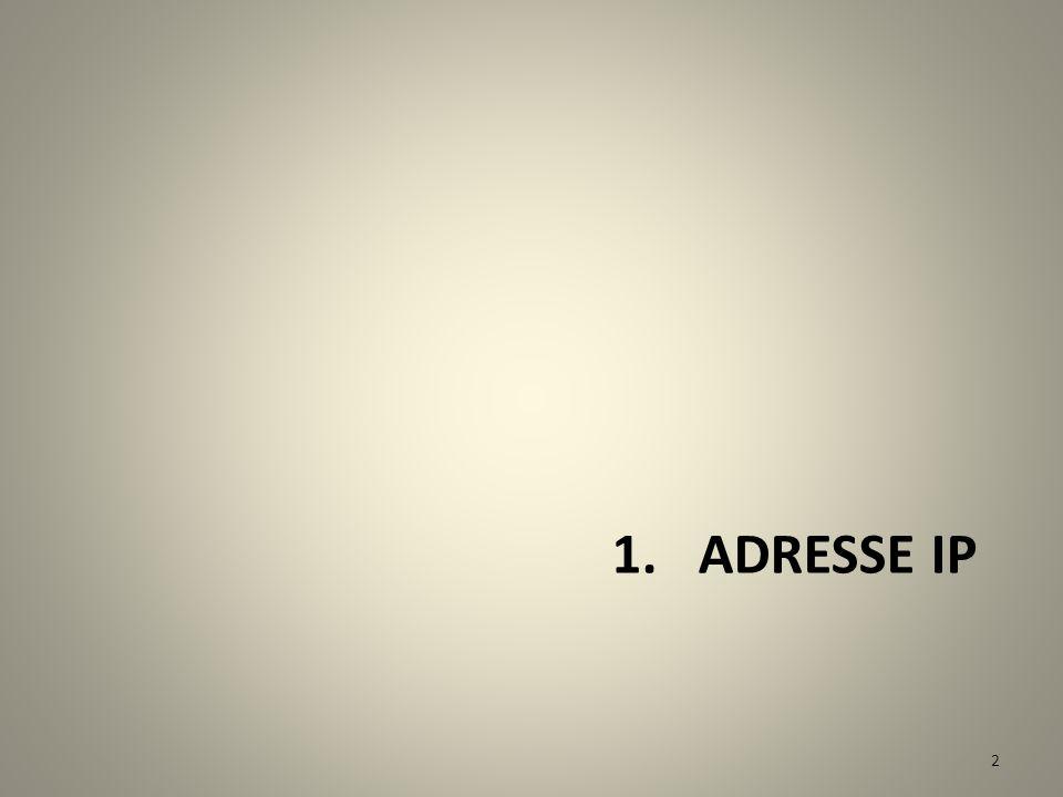 Adressage internet utilisé par le protocole IP (Internet Protocol) Une adresse internet identifie une machine reliée au réseau. Elle est codée par 32