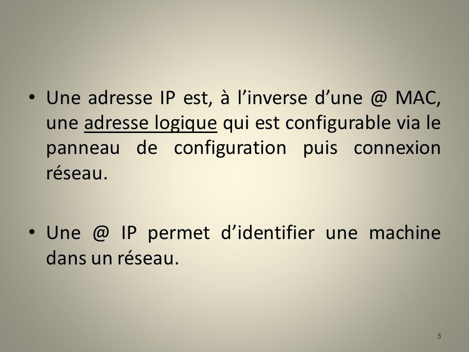 Une adresse IP est, à l'inverse d'une @ MAC, une adresse logique qui est configurable via le panneau de configuration puis connexion réseau.