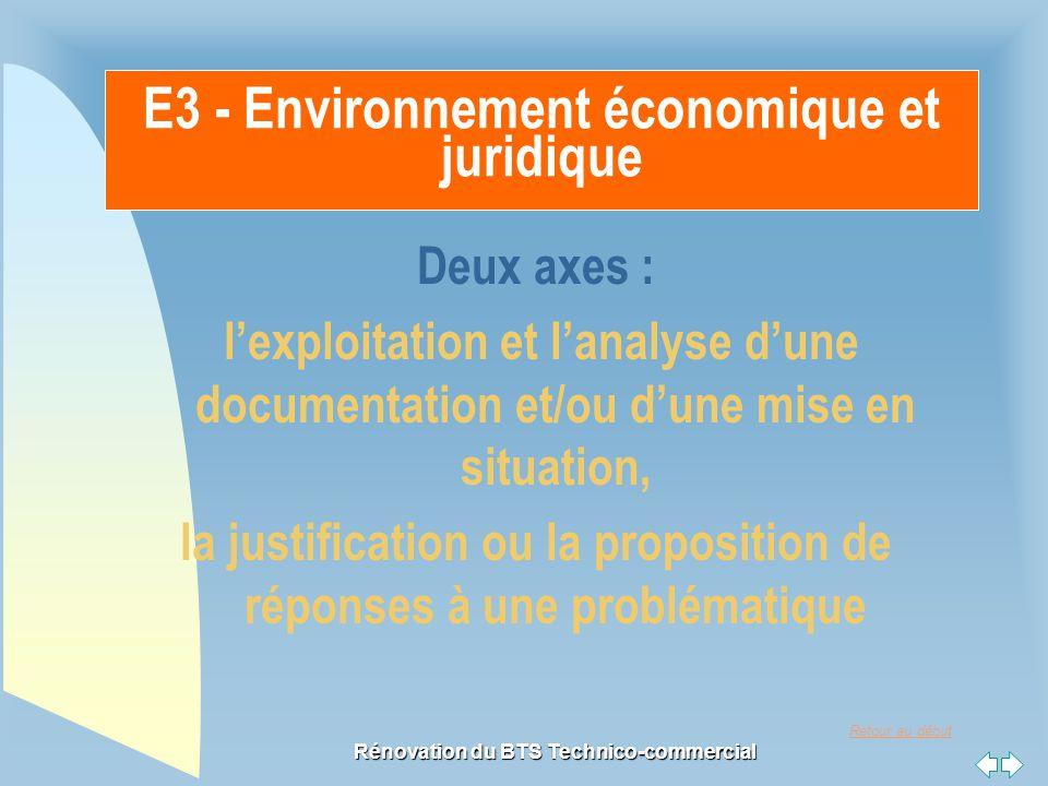 Retour au début Rénovation du BTS Technico-commercial E3 - Environnement économique et juridique Deux axes : l'exploitation et l'analyse d'une documentation et/ou d'une mise en situation, la justification ou la proposition de réponses à une problématique