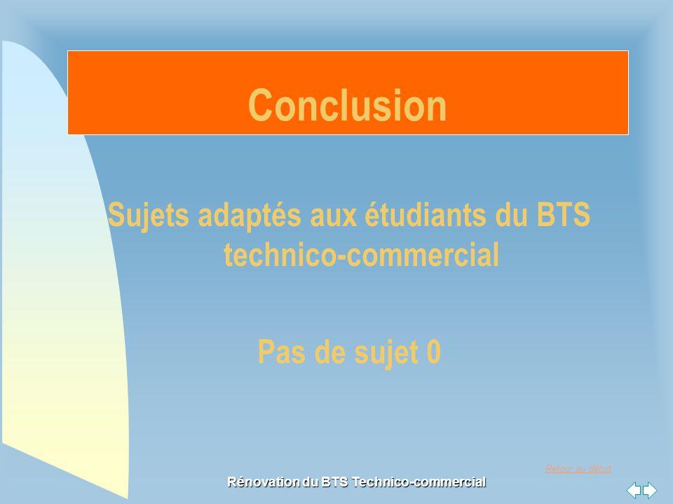 Retour au début Rénovation du BTS Technico-commercial Sujets adaptés aux étudiants du BTS technico-commercial Pas de sujet 0 Conclusion