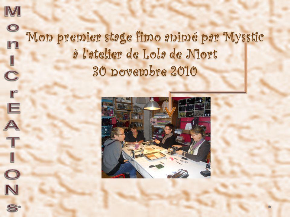 Mon premier stage fimo animé par Mysstic à l'atelier de Lola de Niort 30 novembre 2010