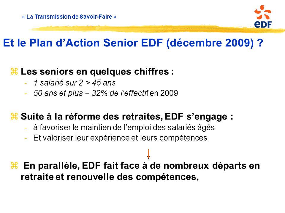 « La Transmission de Savoir-Faire » zLes seniors en quelques chiffres : -1 salarié sur 2 > 45 ans -50 ans et plus = 32% de l'effectif en 2009 zSuite à
