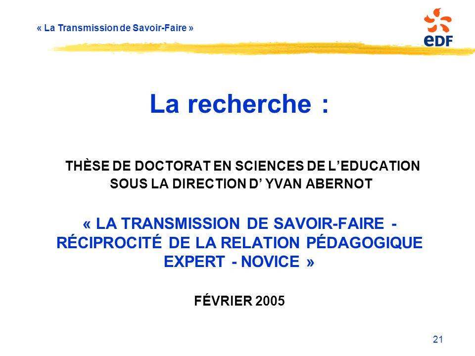 « La Transmission de Savoir-Faire » La recherche : THÈSE DE DOCTORAT EN SCIENCES DE L'EDUCATION SOUS LA DIRECTION D' YVAN ABERNOT « LA TRANSMISSION DE