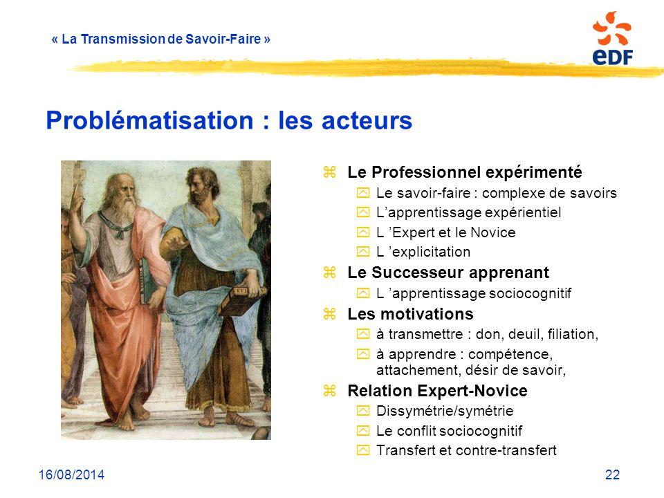 « La Transmission de Savoir-Faire » 16/08/201422 Problématisation : les acteurs zLe Professionnel expérimenté yLe savoir-faire : complexe de savoirs y