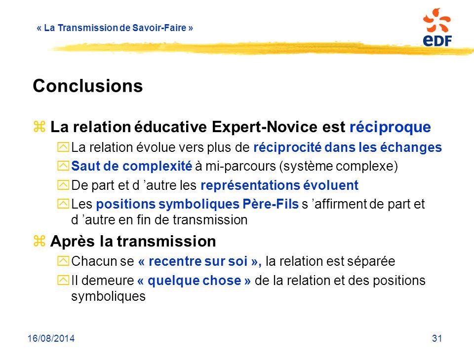 « La Transmission de Savoir-Faire » 16/08/201431 Conclusions zLa relation éducative Expert-Novice est réciproque yLa relation évolue vers plus de réci