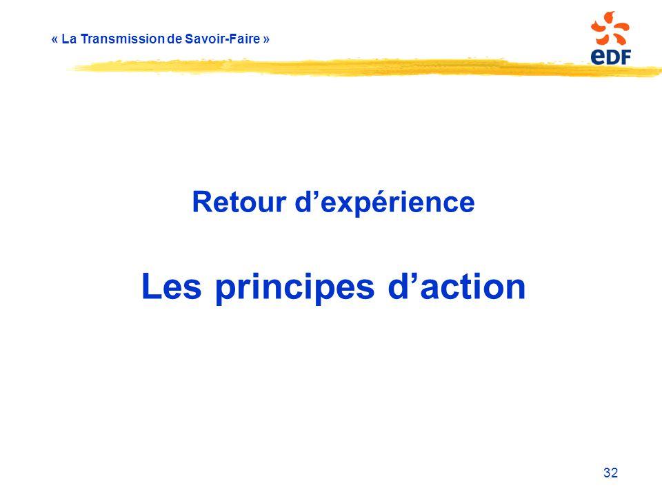 « La Transmission de Savoir-Faire » Retour d'expérience Les principes d'action 32