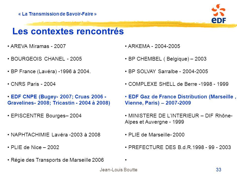 « La Transmission de Savoir-Faire » Jean-Louis Boutte 33 Les contextes rencontrés AREVA Miramas - 2007 ARKEMA - 2004-2005 BOURGEOIS CHANEL - 2005 BP C