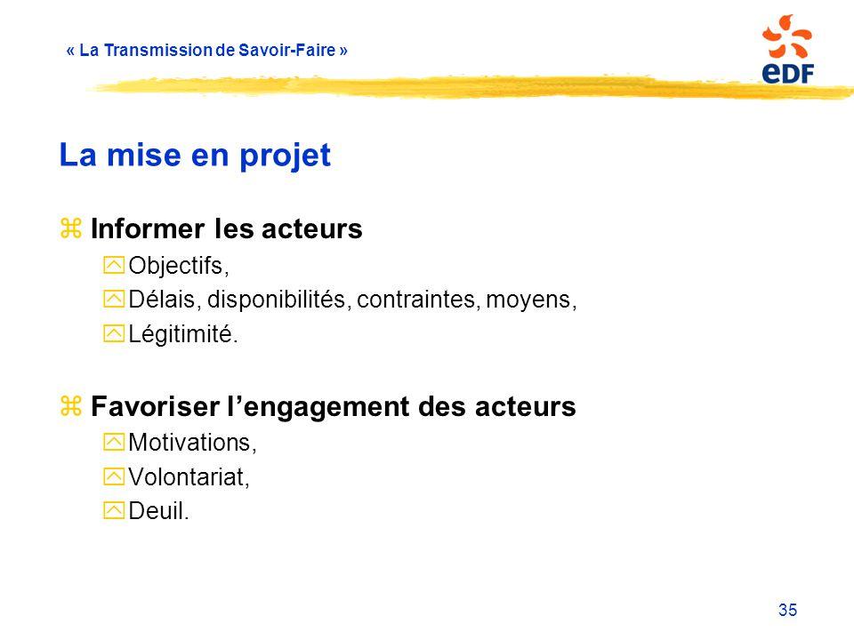« La Transmission de Savoir-Faire » 35 La mise en projet zInformer les acteurs yObjectifs, yDélais, disponibilités, contraintes, moyens, yLégitimité.