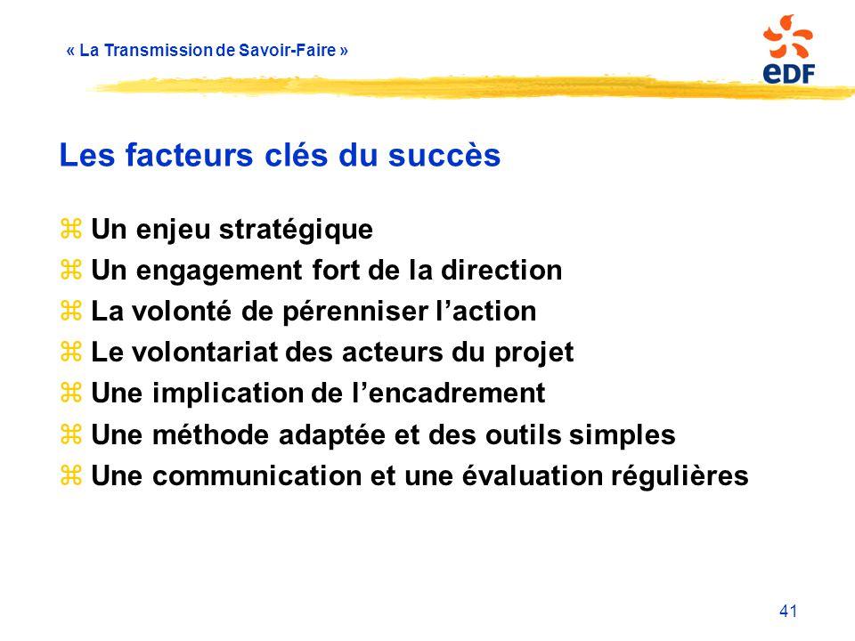 « La Transmission de Savoir-Faire » 41 Les facteurs clés du succès zUn enjeu stratégique zUn engagement fort de la direction zLa volonté de pérenniser