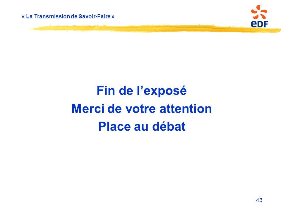 « La Transmission de Savoir-Faire » Fin de l'exposé Merci de votre attention Place au débat 43