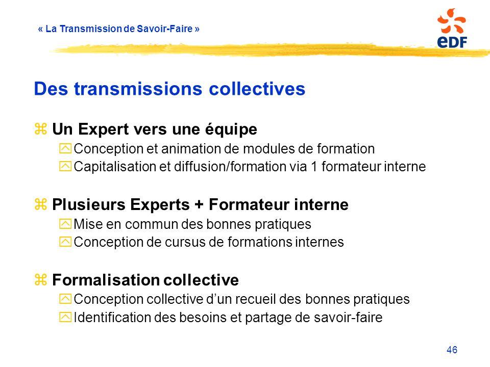 « La Transmission de Savoir-Faire » 46 Des transmissions collectives zUn Expert vers une équipe yConception et animation de modules de formation yCapi