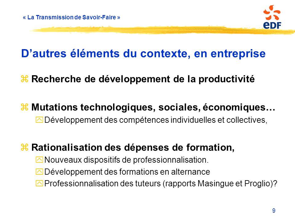 « La Transmission de Savoir-Faire » 9 D'autres éléments du contexte, en entreprise zRecherche de développement de la productivité zMutations technolog