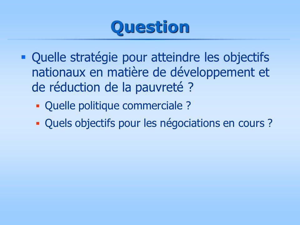Question  Quelle stratégie pour atteindre les objectifs nationaux en matière de développement et de réduction de la pauvreté ?  Quelle politique com