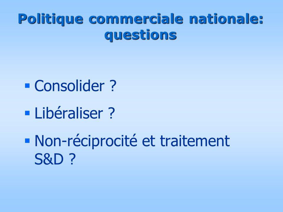 Politique commerciale nationale: questions  Consolider ?  Libéraliser ?  Non-réciprocité et traitement S&D ?