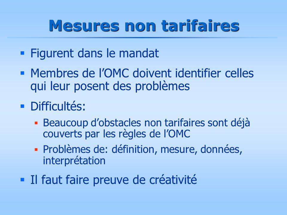 Mesures non tarifaires  Figurent dans le mandat  Membres de l'OMC doivent identifier celles qui leur posent des problèmes  Difficultés:  Beaucoup