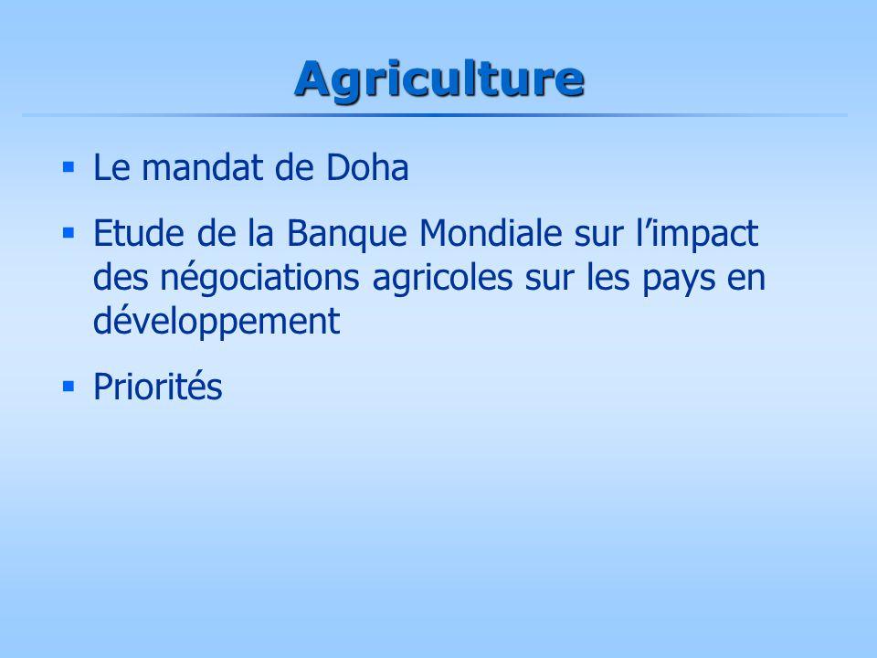 Agriculture  Le mandat de Doha  Etude de la Banque Mondiale sur l'impact des négociations agricoles sur les pays en développement  Priorités